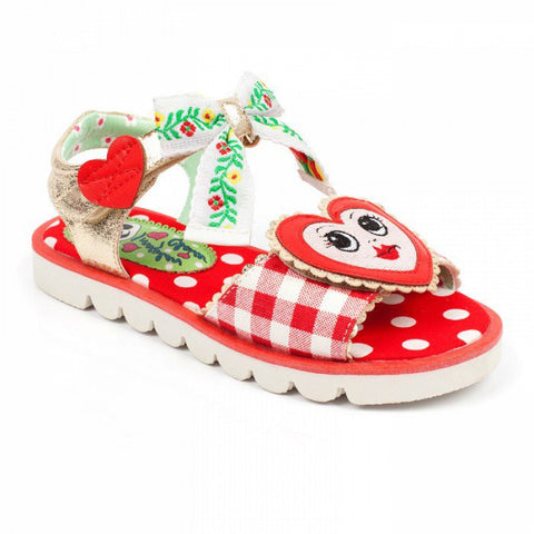 Irregular Choice Childrens Red Heart Face Sandals