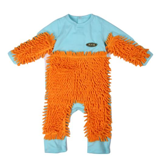 Baby Mop Cleaning Onesie Sky Blue & Orange