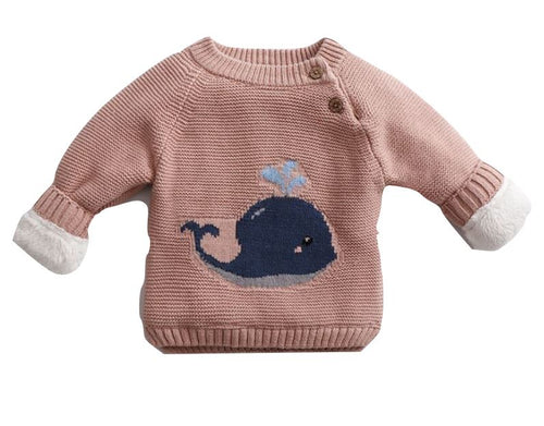 Dusty Pink Cosy Knitted Whale Jumper
