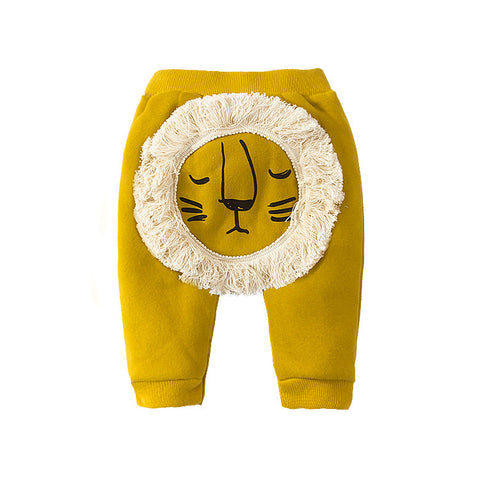Yellow Cotton Lion Joggers