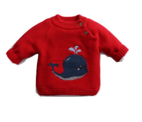 Red Cosy Knitted Whale Jumper