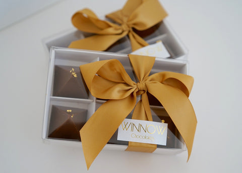 Winnow Organic Milk Chocolates with Roasted Almond and Edible 23ct Gold Leaf