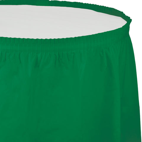 "Emerald Green Bulk Party Tableskirts, 14' x 29"" (6/Case)-Solid Color Party Tableware-Creative Converting-6-"