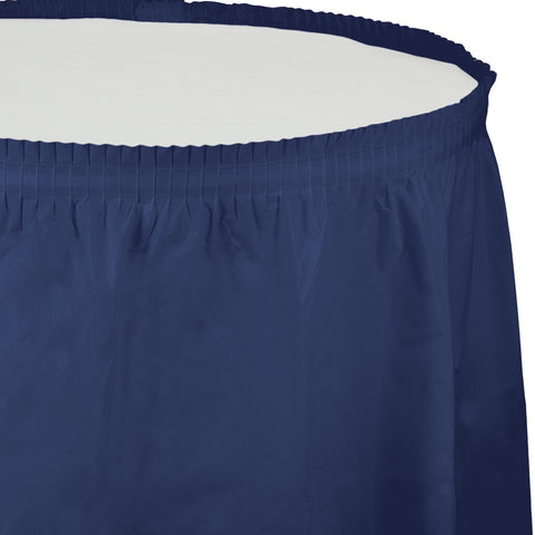 "Navy Blue Bulk Party Tableskirts, 14' x 29"" (6/Case)"