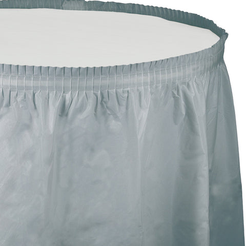 "Silver Bulk Party Tableskirts, 14' x 29"" (6/Case)-Solid Color Party Tableware-Creative Converting-6-"