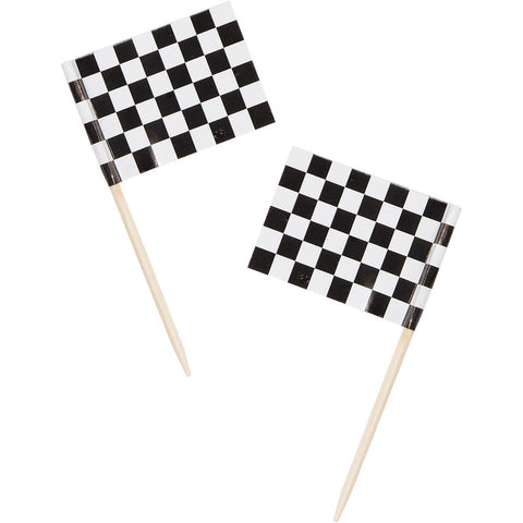 Black & White Checkered Flag Appetizer Party Picks 2.5""