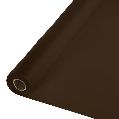 "Brown Bulk Party Plastic Tablecloth Rolls 40"" x 100' (1/Case)"