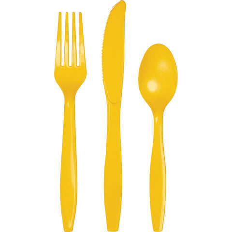 School Bus Yellow Bulk Party Plastic Cutlery Forks, Knives, Spoons (288/Case)-Solid Color Party Tableware-Creative Converting-288-