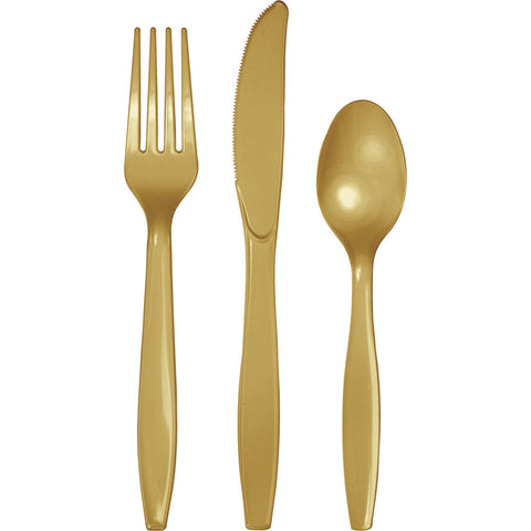 Gold Bulk Party Plastic Cutlery Forks, Knives, Spoons (288/Case)