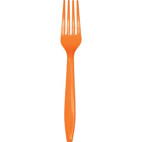 Orange Bulk Party Forks (600/Case)-Solid Color Party Tableware-Creative Converting-600-