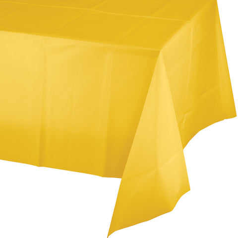 "School Bus Yellow Bulk Party Plastic Tablecovers 54"" x 108"" (24/Case)-Solid Color Party Tableware-Creative Converting-24-"