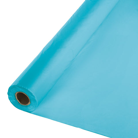 "Bermuda Blue Bulk Party Plastic Tablecloth Rolls 40"" x 100' (1/Case)-Solid Color Party Tableware-Creative Converting-1-"