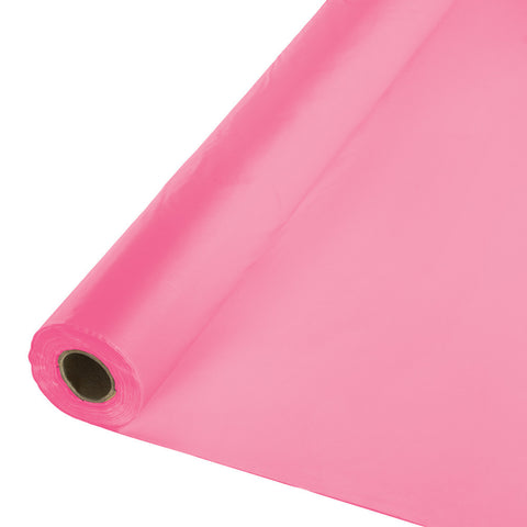 "Candy Pink Bulk Party Plastic Tablecloth Rolls 40"" x 100' (1/Case)"