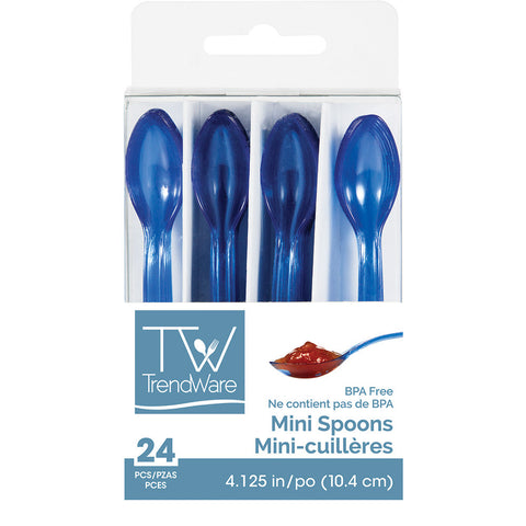Blue Mini Disposable Appetizer Spoons-Disposable Catering Supplies-Creative Converting-144-