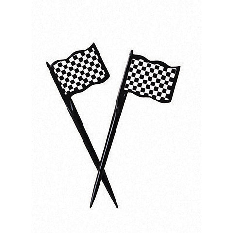 Black & White Checkered Flag Appetizer Party Plastic Picks 3.5""