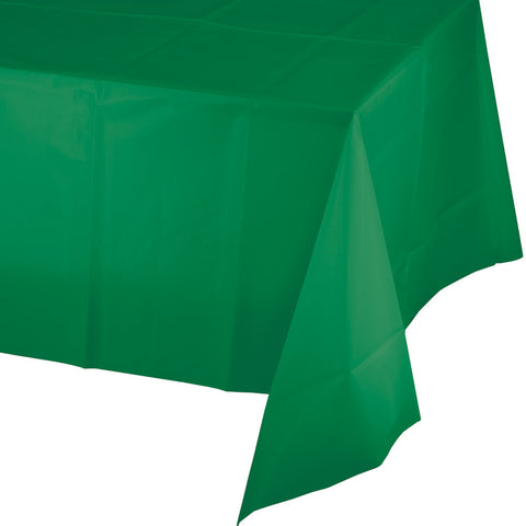 "Emerald Green Bulk Party Plastic Tablecovers 54"" x 108"" (12/Case)-Solid Color Party Tableware-Creative Converting-12-"