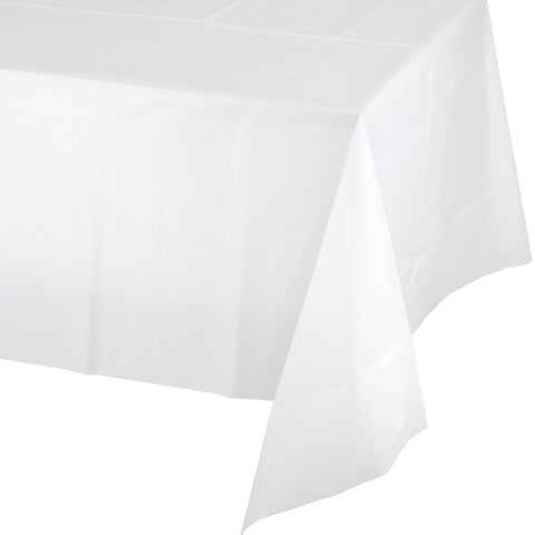 "White Bulk Party Plastic Tablecovers 54"" x 108"" (12/Case)-Solid Color Party Tableware-Creative Converting-12-"