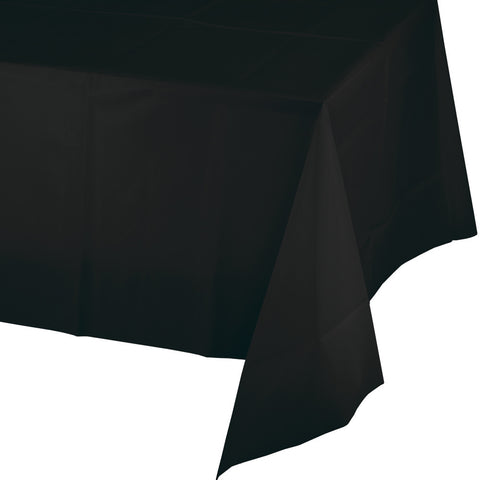"Black Bulk Party Plastic Tablecovers 54"" x 108"" (12/Case)"