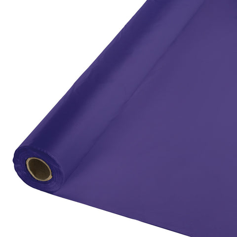 "Purple Bulk Party Plastic Tablecloth Rolls 40"" x 100' (1/Case)"