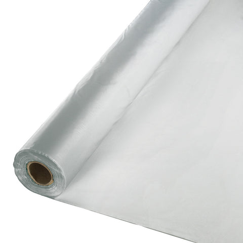 "Silver Bulk Party Plastic Tablecloth Rolls 40"" x 100' (1/Case)"