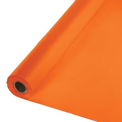 "Orange Bulk Party Plastic Tablecloth Rolls 40"" x 250' (1/Case)"