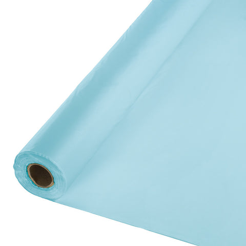 "Baby Blue Bulk Party Plastic Tablecloth Rolls 40"" x 100' (1/Case)"