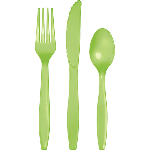 Lime Green Bulk Party Plastic Cutlery Forks, Knives, Spoons (288/Case)