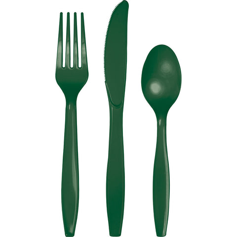 Hunter Green Bulk Party Plastic Cutlery Forks, Knives, Spoons (288/Case)