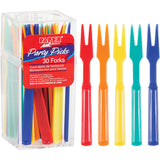 Assorted Color Disposable Plastic Cocktail Forks 3""