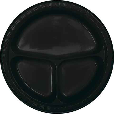 "Black Bulk Party Divided 3 Compartment Plastic Plates 10.25"" (200/Case)"
