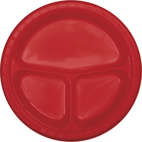 "Red Bulk Party Divided 3 Compartment Plastic Plates 10.25"" (200/Case)-Solid Color Party Tableware-Creative Converting-200-"