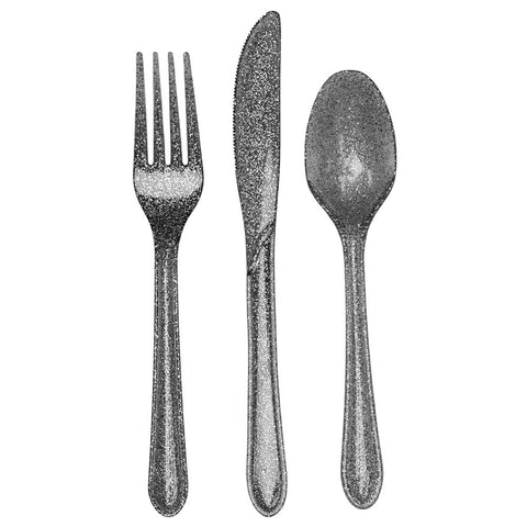 Silver Glitter Bulk Party Utensils Assorted Cutlery