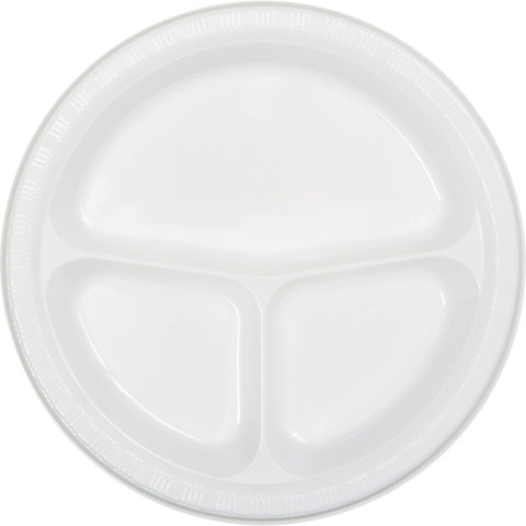 "White Bulk Party Divided 3 Compartment Plastic Plates 10.25"" (200/Case)"