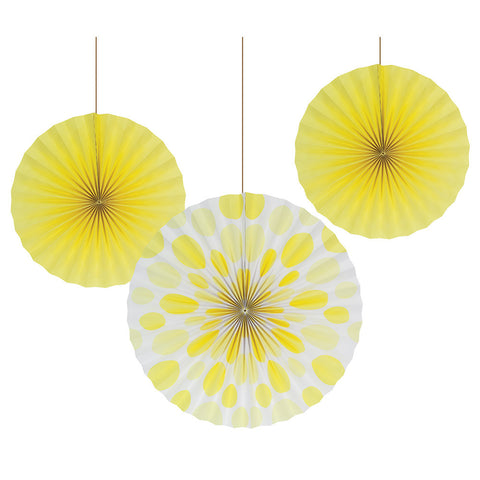 Yellow Bulk Party Hanging Paper Fans Solid & Polka Dot Decoration Kits
