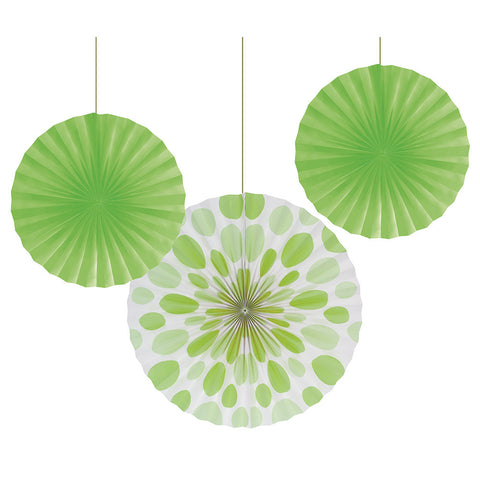 Lime Green Bulk Party Hanging Paper Fans Solid & Polka Dot Decoration Kits