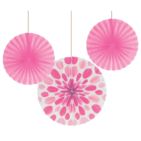 Candy Pink Bulk Party Hanging Paper Fans Solid & Polka Dot Decoration Kits