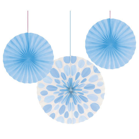 Pastel Baby Blue Bulk Party Hanging Paper Fans Solid & Polka Dot Decoration Kits