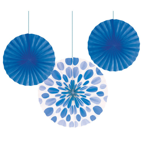 Blue Bulk Party Hanging Paper Fans Solid & Polka Dot Decoration Kits