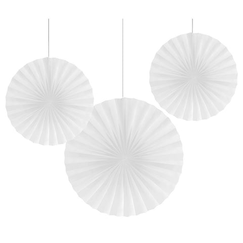 White Bulk Party Hanging Paper Fans Decoration Kits