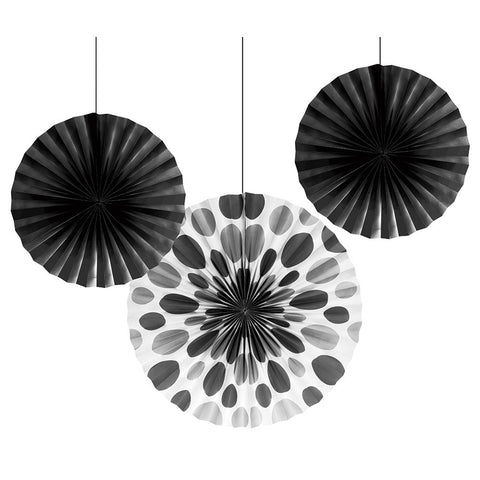 Black Bulk Party Hanging Paper Fans Solid & Polka Dot Decoration Kits