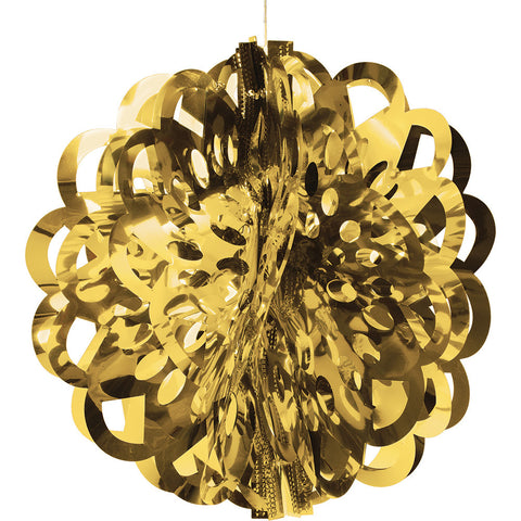Gold Bulk Party Foil Diecut Ball Ceiling Hanging Decorations-Bulk Party Decorations-Creative Converting-12-