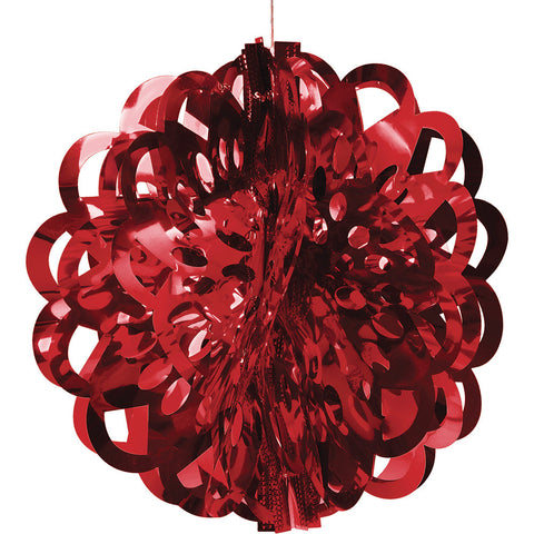 Red Bulk Party Foil Diecut Ball Ceiling Hanging Decorations-Bulk Party Decorations-Creative Converting-12-