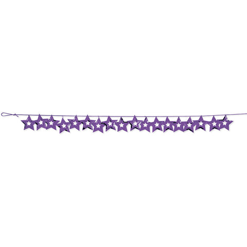 Purple Bulk Party Stars Garland Hanging Decorations, 9 ft.