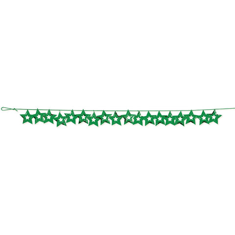 Green Bulk Party Stars Garland Hanging Decorations, 9 ft.