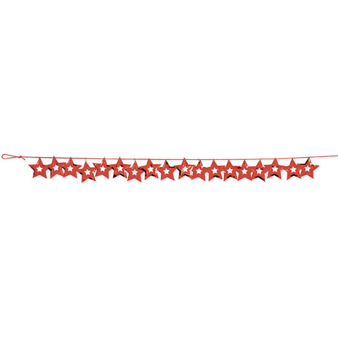 Red Bulk Party Stars Garland Hanging Decorations, 9 ft.