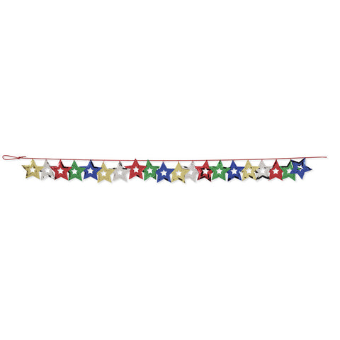 Assorted Color Bulk Party Stars Garland Hanging Decorations, 9 ft. Multicolor Stars