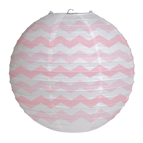 "Pink Bulk Party Chevron Paper Lanterns 12""-Bulk Party Decorations-Creative Converting-12-"