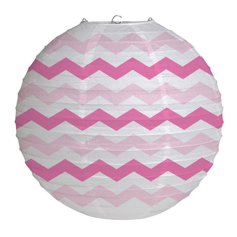 "Candy Pink Bulk Party Chevron Paper Lanterns 12""-Bulk Party Decorations-Creative Converting-12-"
