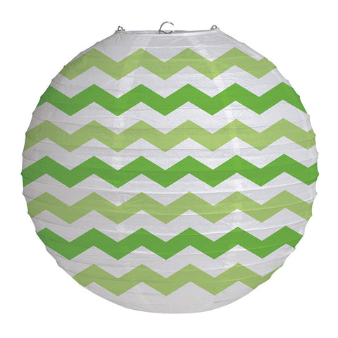 Lime Green Bulk Party Chevron Paper Lanterns 12""