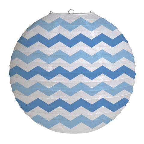 Blue Bulk Party Chevron Paper Lanterns 12""